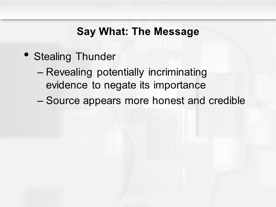 Say What: The Message Stealing Thunder. Revealing potentially incriminating evidence to negate its importance.