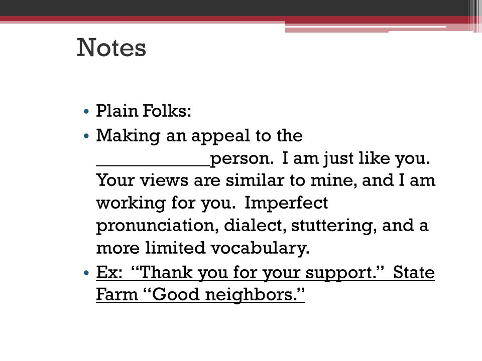 Notes Plain Folks:
