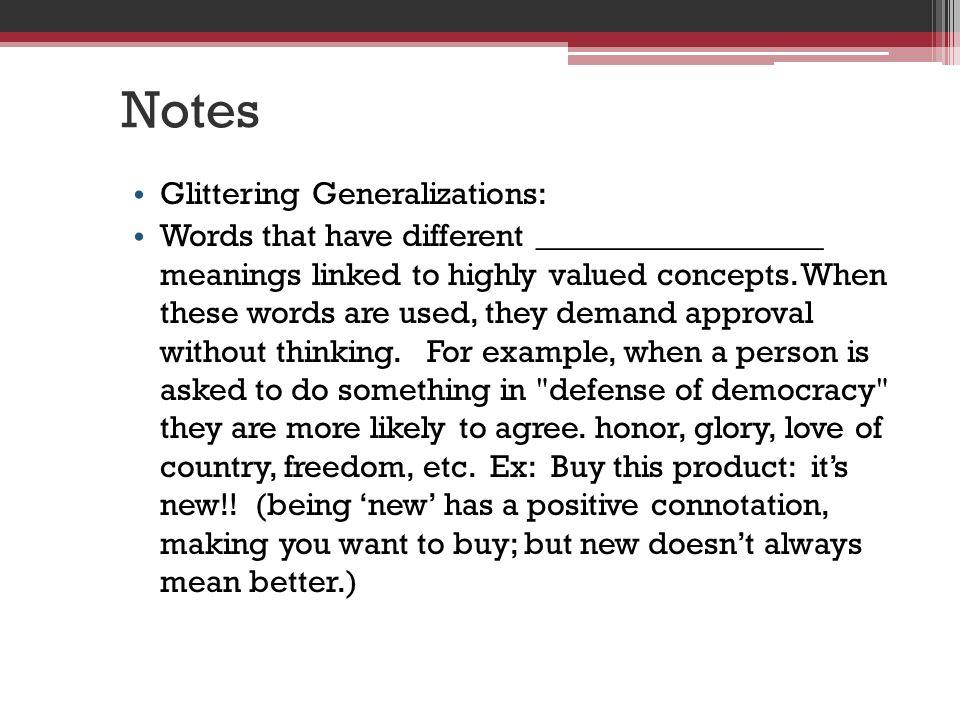 Notes Glittering Generalizations: