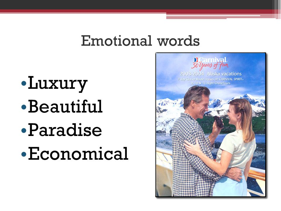 Emotional words Luxury Beautiful Paradise Economical
