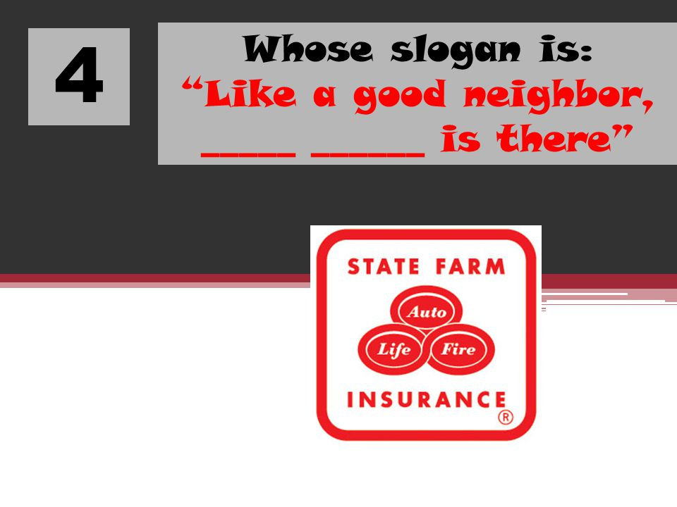 Whose slogan is: Like a good neighbor, _____ ______ is there