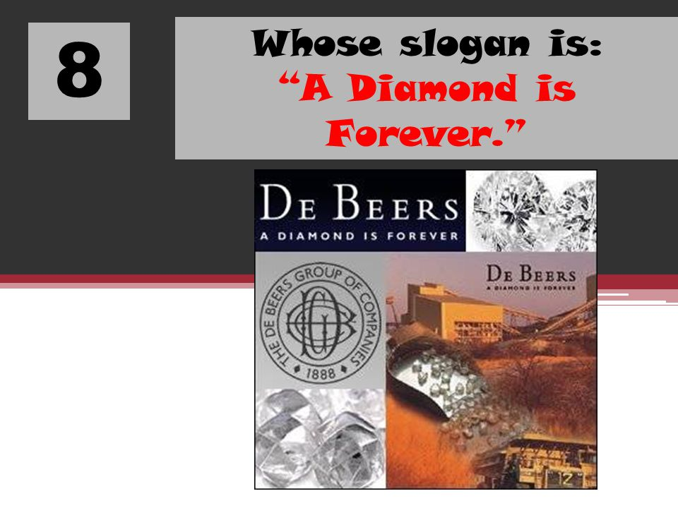 Whose slogan is: A Diamond is Forever.