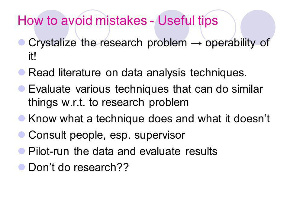 How to avoid mistakes - Useful tips