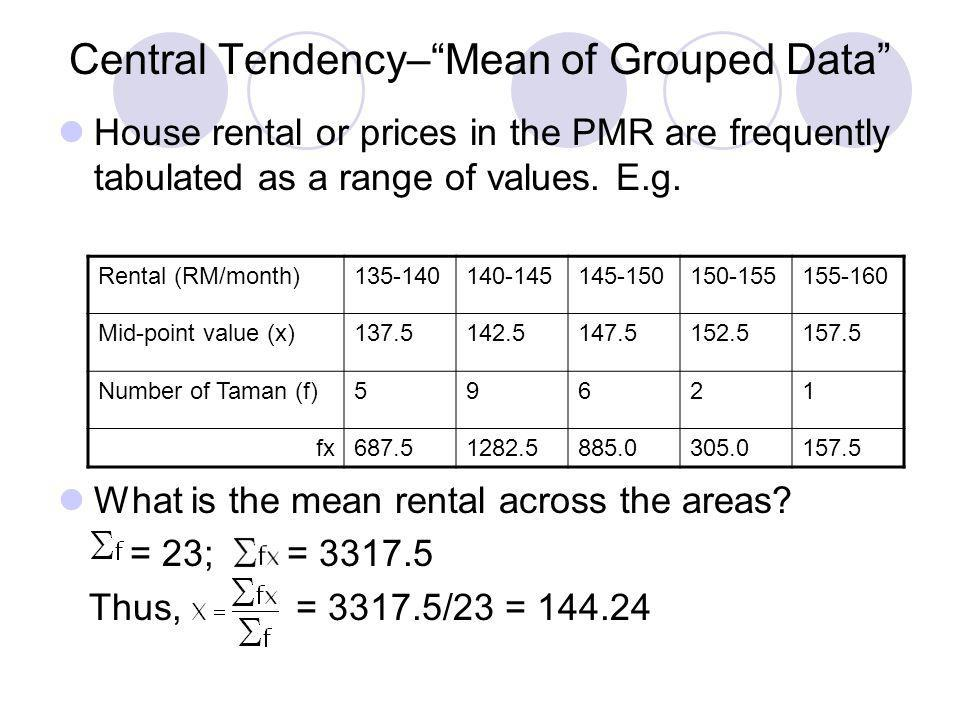 Central Tendency– Mean of Grouped Data