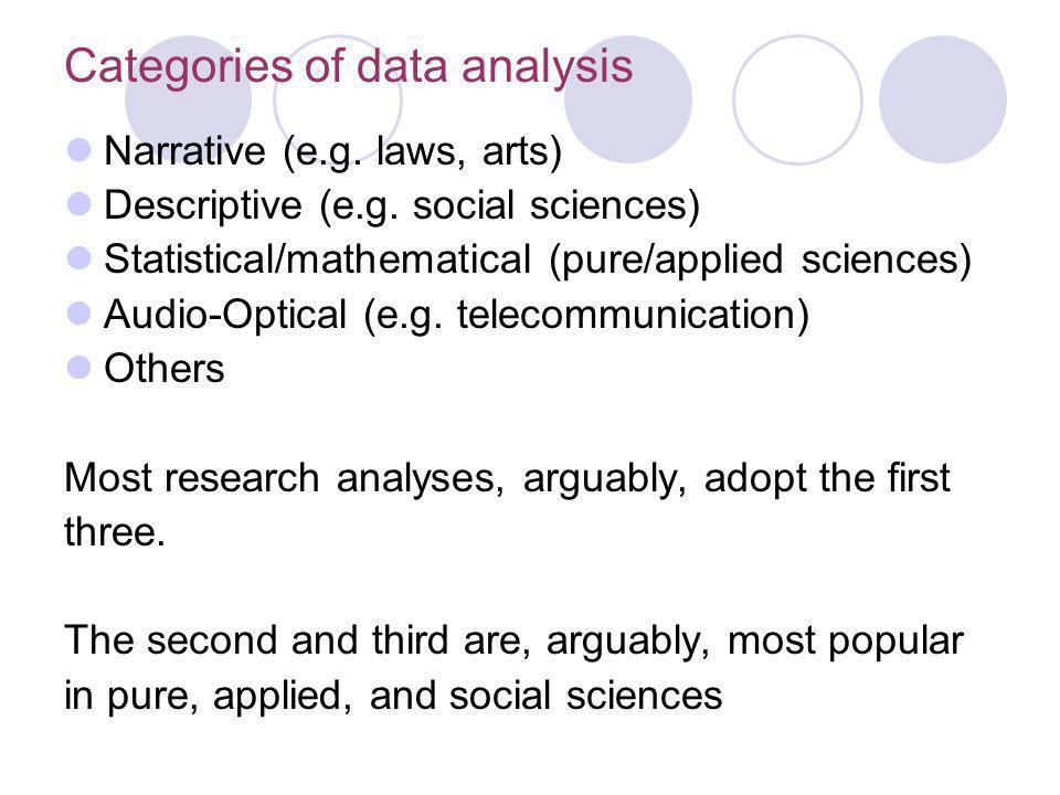 Categories of data analysis