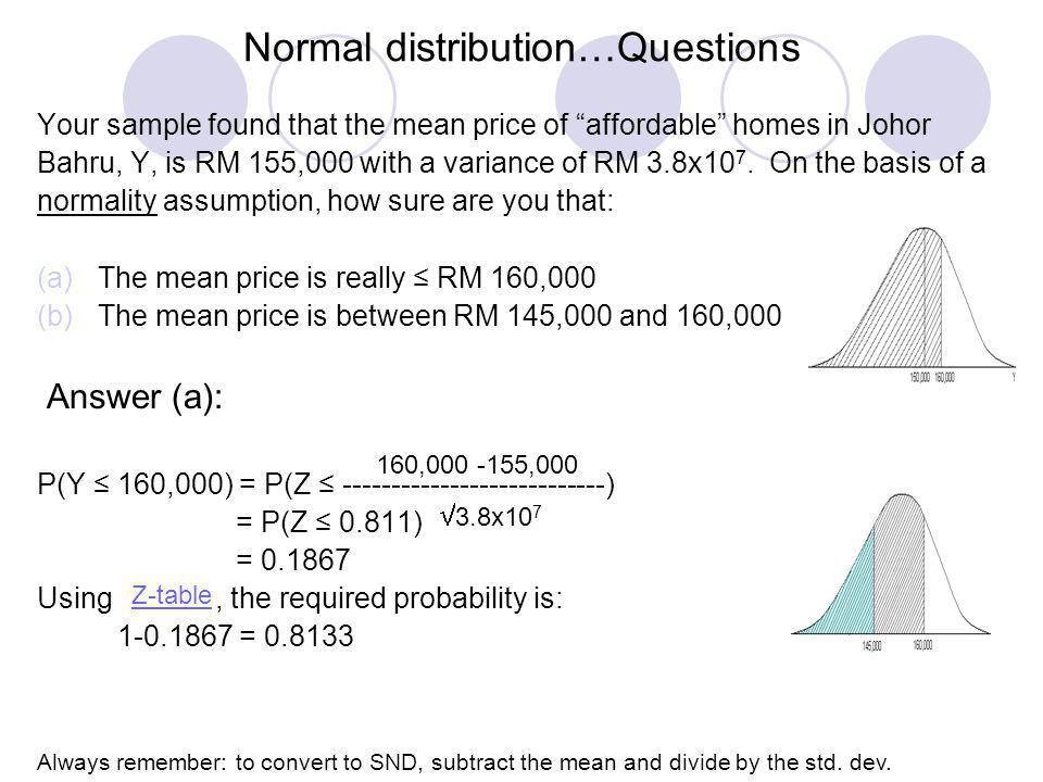 Normal distribution…Questions