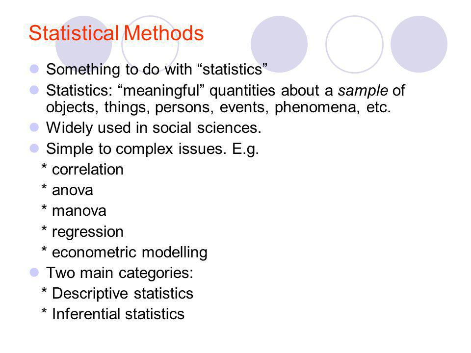 Statistical Methods Something to do with statistics