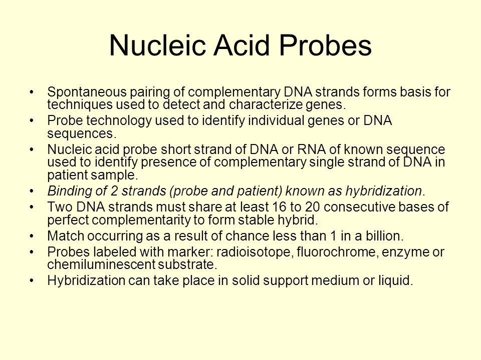 Nucleic Acid Probes Spontaneous pairing of complementary DNA strands forms basis for techniques used to detect and characterize genes.