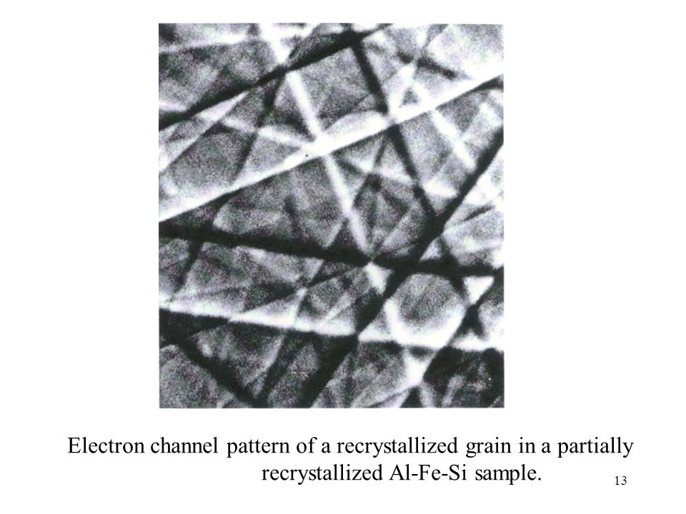Electron channel pattern of a recrystallized grain in a partially recrystallized Al-Fe-Si sample.