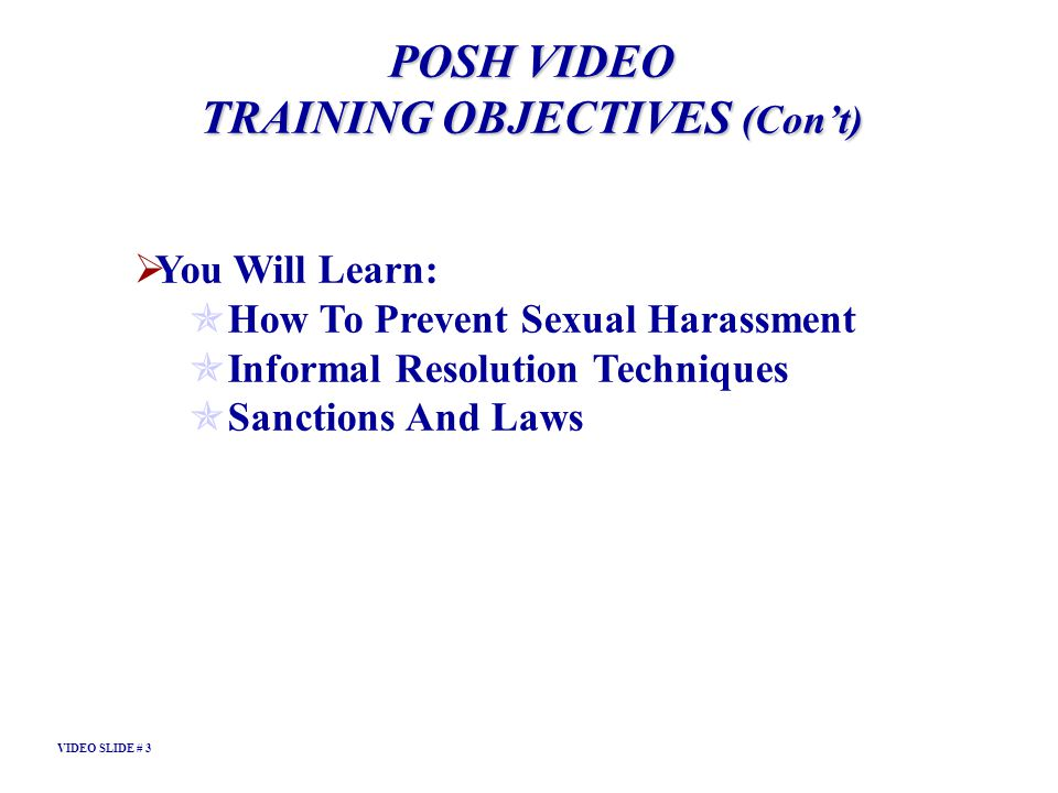 TRAINING OBJECTIVES (Con't)