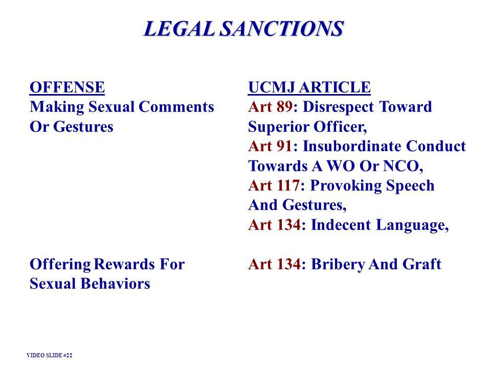LEGAL SANCTIONS OFFENSE UCMJ ARTICLE