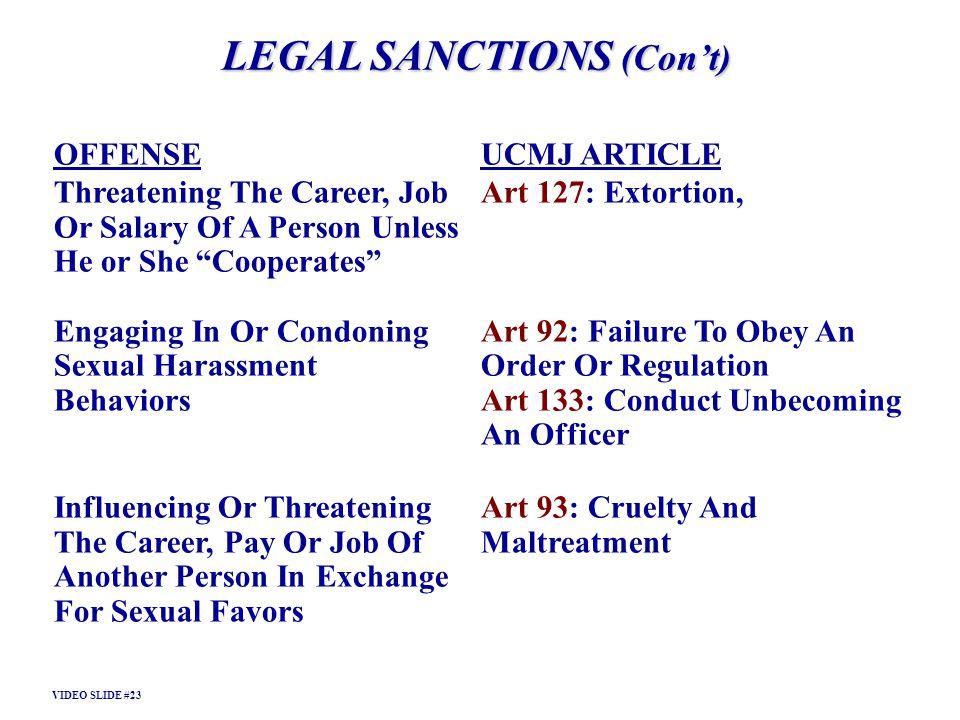LEGAL SANCTIONS (Con't)