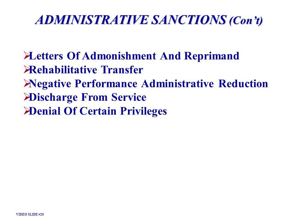 ADMINISTRATIVE SANCTIONS (Con't)