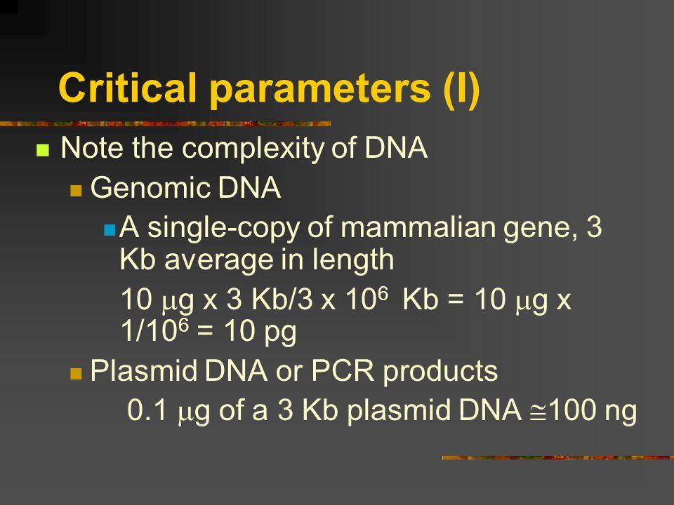 Critical parameters (I)