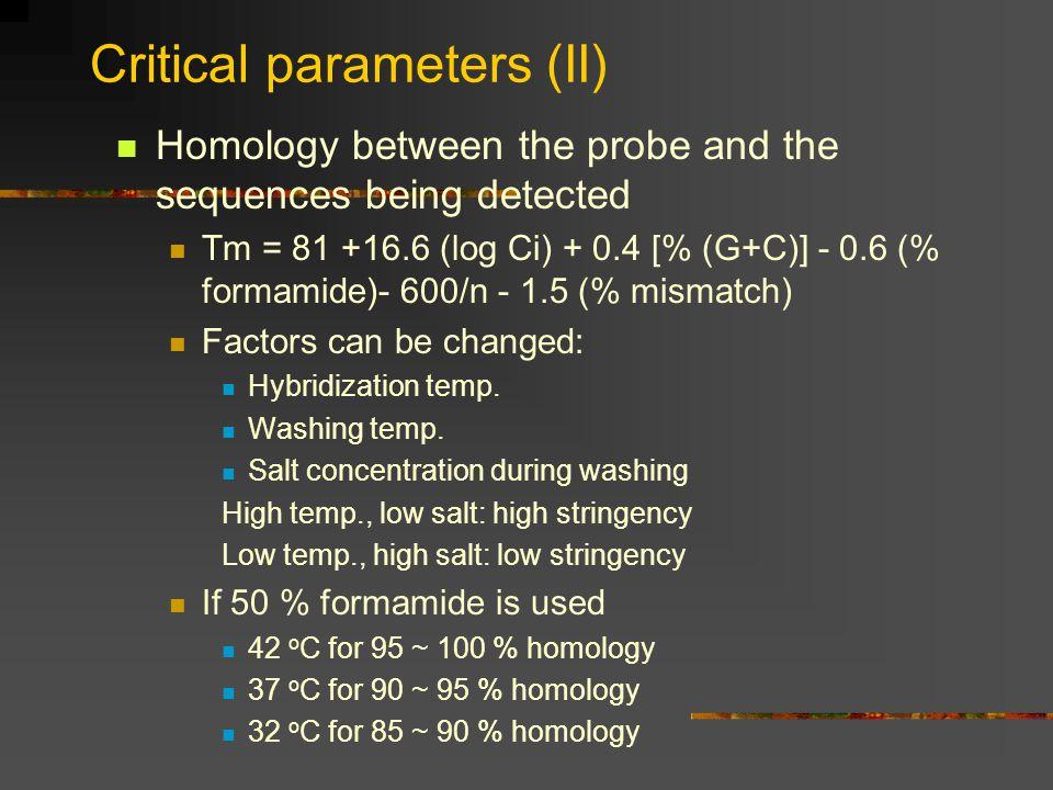 Critical parameters (II)