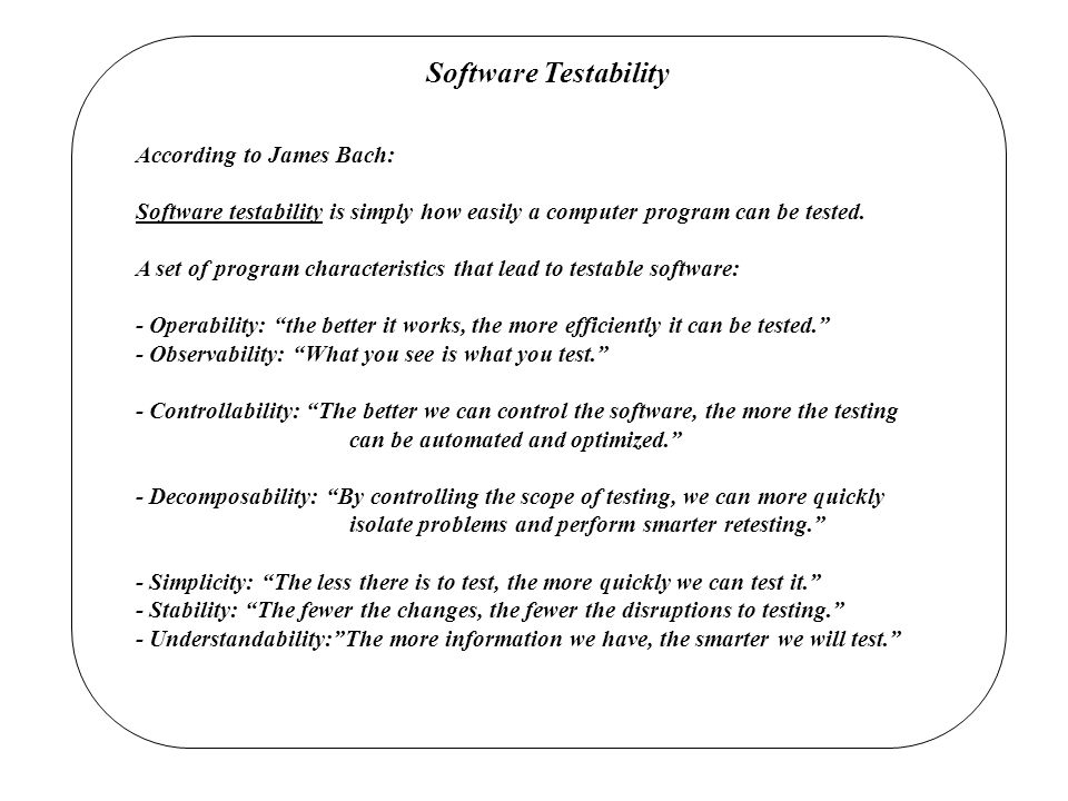 Software Testability According to James Bach: