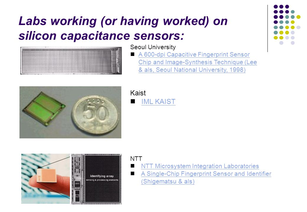 Labs working (or having worked) on silicon capacitance sensors: