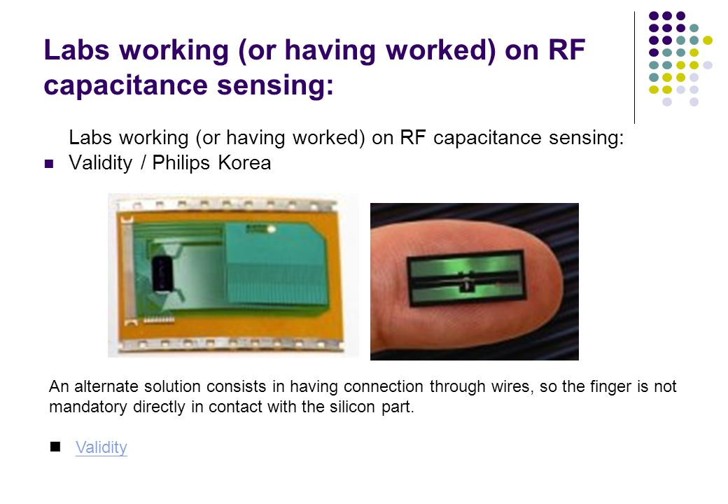 Labs working (or having worked) on RF capacitance sensing:
