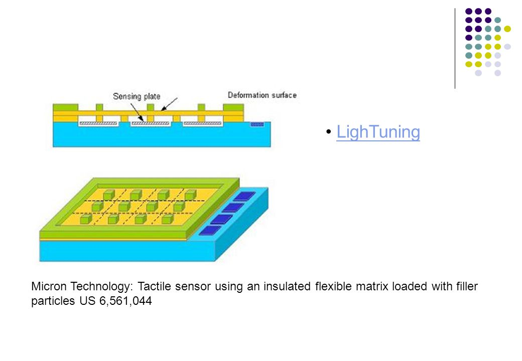 LighTuning Micron Technology: Tactile sensor using an insulated flexible matrix loaded with filler particles US 6,561,044.