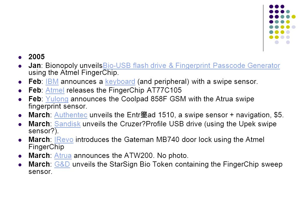 2005 Jan: Bionopoly unveilsBio-USB flash drive & Fingerprint Passcode Generator using the Atmel FingerChip.
