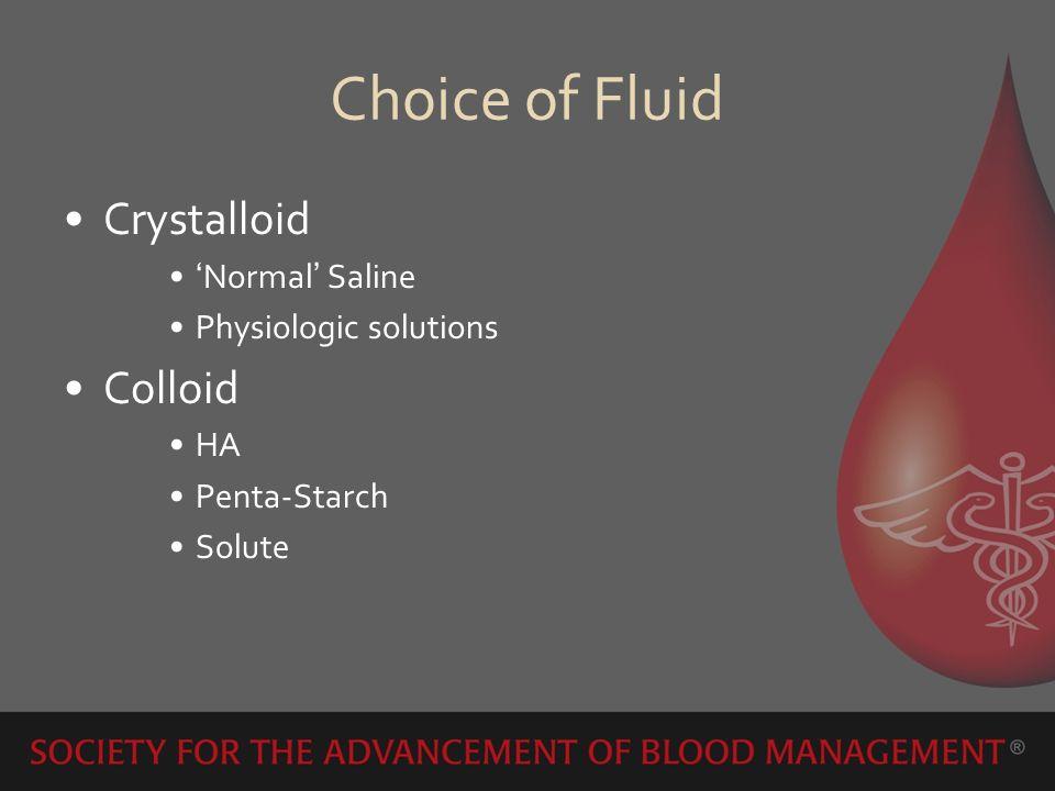 Choice of Fluid Crystalloid Colloid 'Normal' Saline