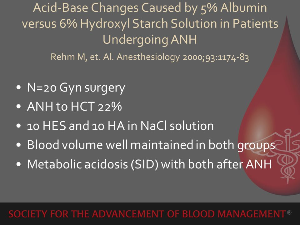 Acid-Base Changes Caused by 5% Albumin versus 6% Hydroxyl Starch Solution in Patients Undergoing ANH Rehm M, et. Al. Anesthesiology 2000;93:1174-83