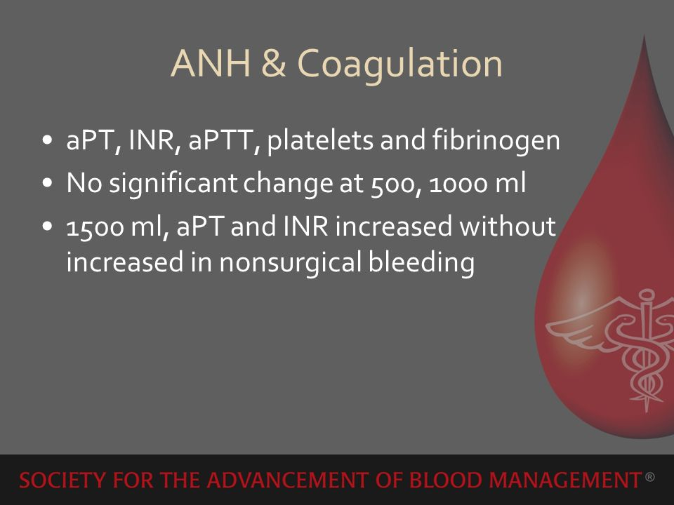 ANH & Coagulation aPT, INR, aPTT, platelets and fibrinogen