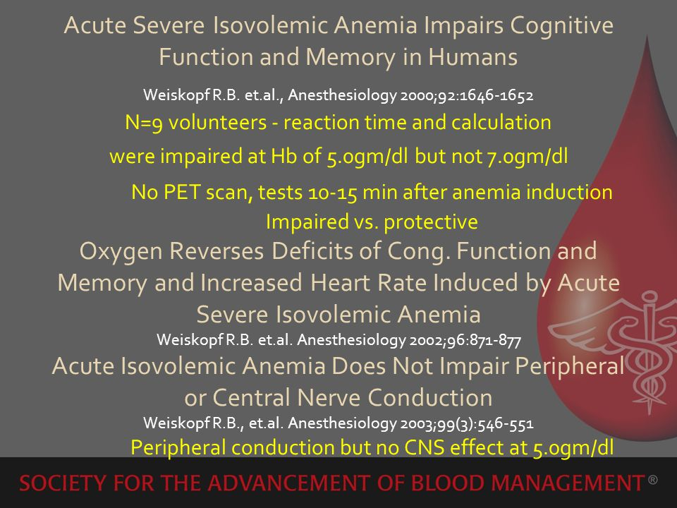 Acute Severe Isovolemic Anemia Impairs Cognitive Function and Memory in Humans Weiskopf R.B.
