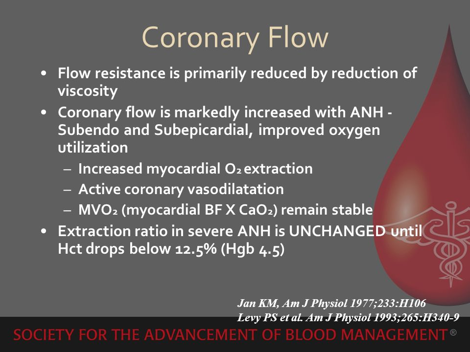Coronary Flow Flow resistance is primarily reduced by reduction of viscosity.