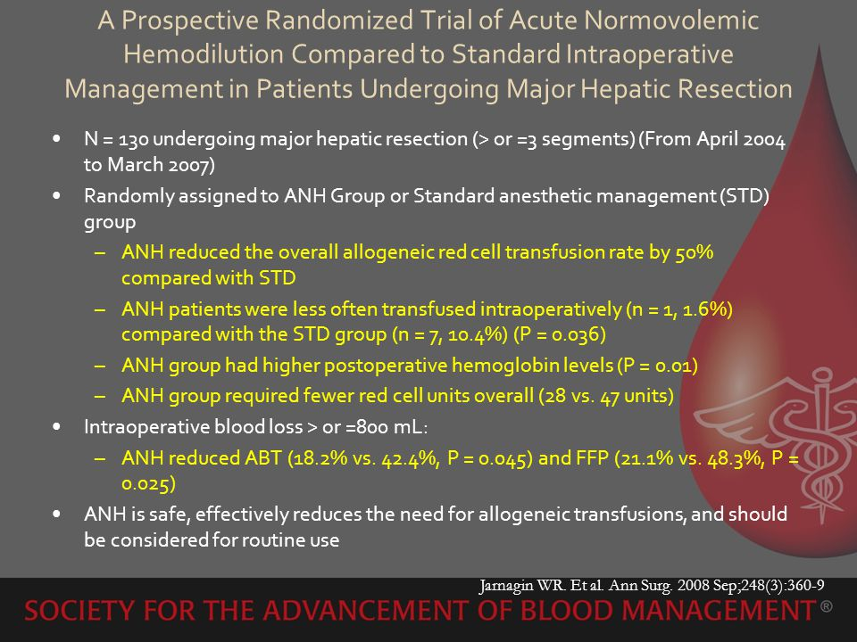 A Prospective Randomized Trial of Acute Normovolemic Hemodilution Compared to Standard Intraoperative Management in Patients Undergoing Major Hepatic Resection