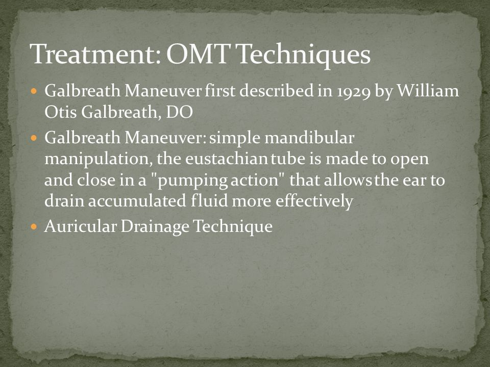 Treatment: OMT Techniques
