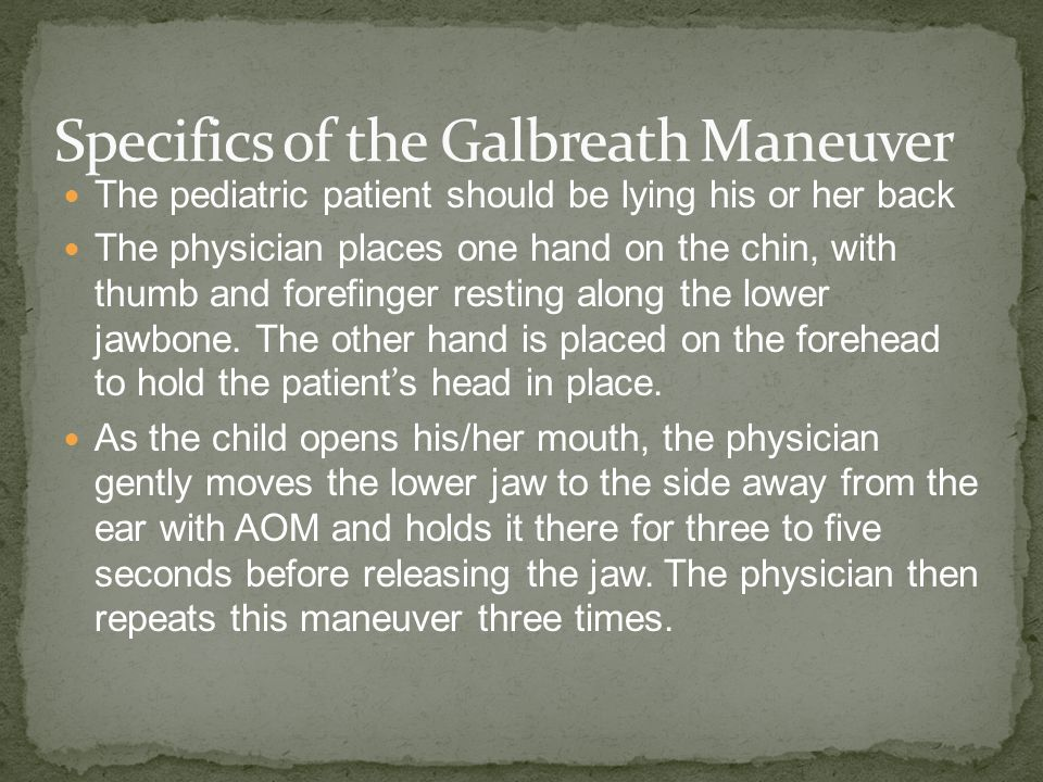 Specifics of the Galbreath Maneuver