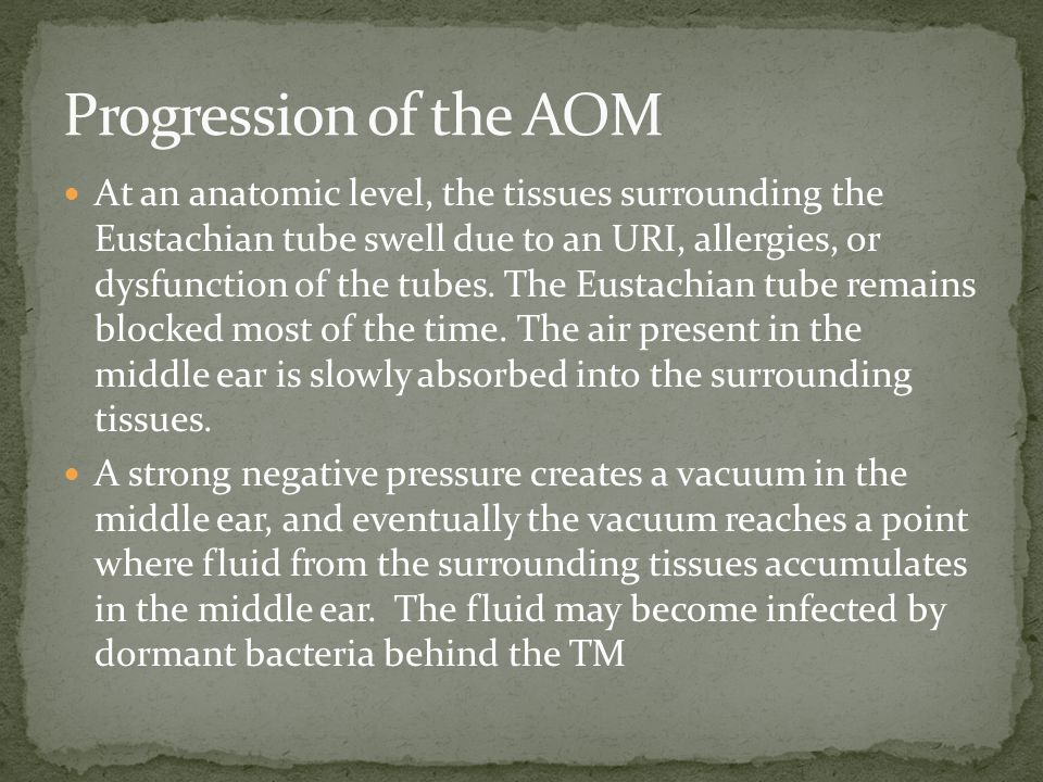 Progression of the AOM