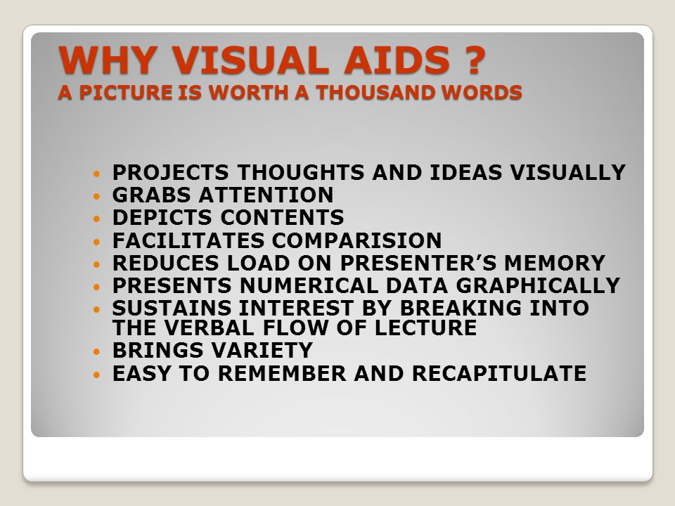 WHY VISUAL AIDS A PICTURE IS WORTH A THOUSAND WORDS