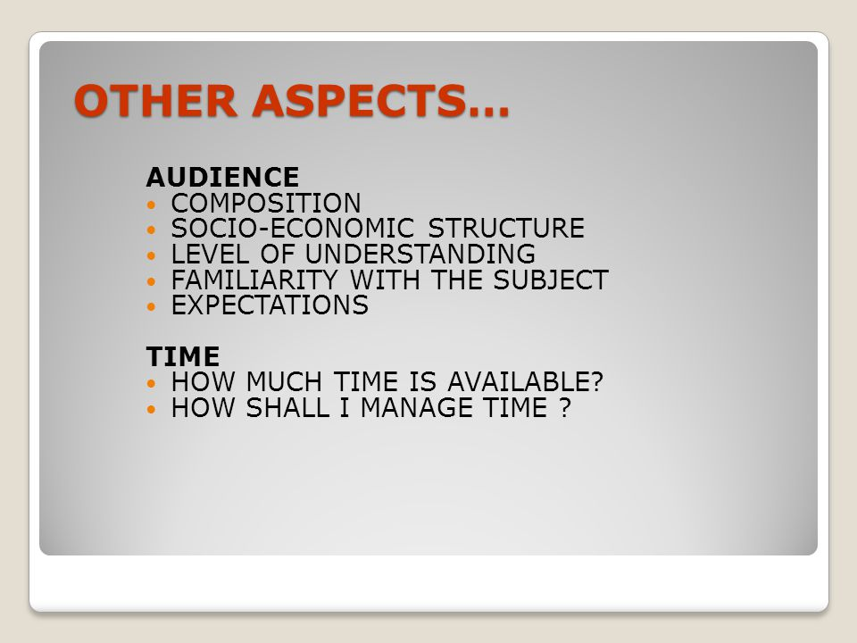 OTHER ASPECTS… AUDIENCE COMPOSITION SOCIO-ECONOMIC STRUCTURE