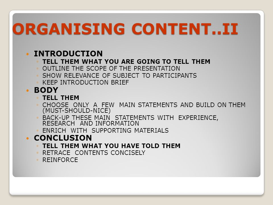 ORGANISING CONTENT..II INTRODUCTION BODY CONCLUSION