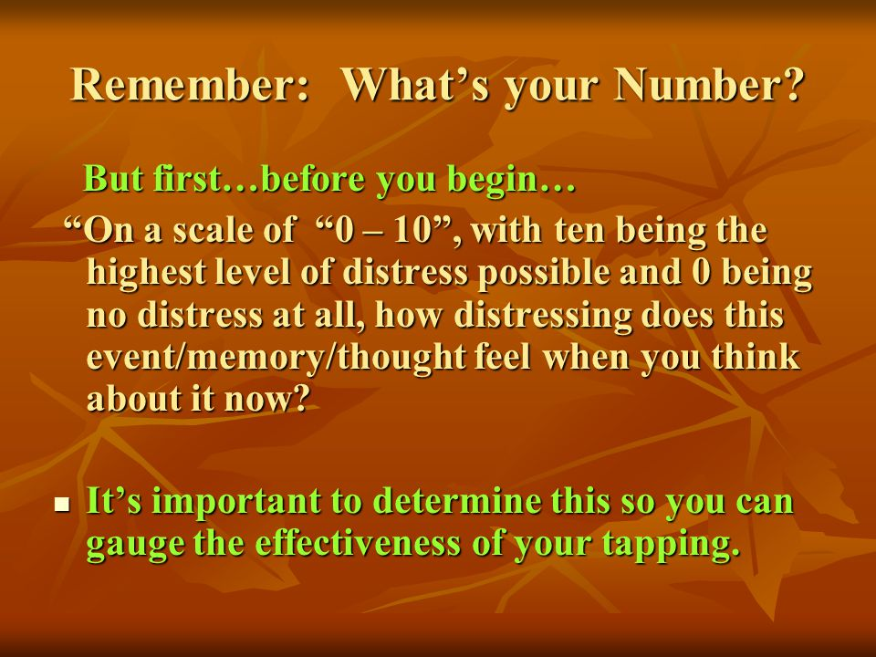 Remember: What's your Number