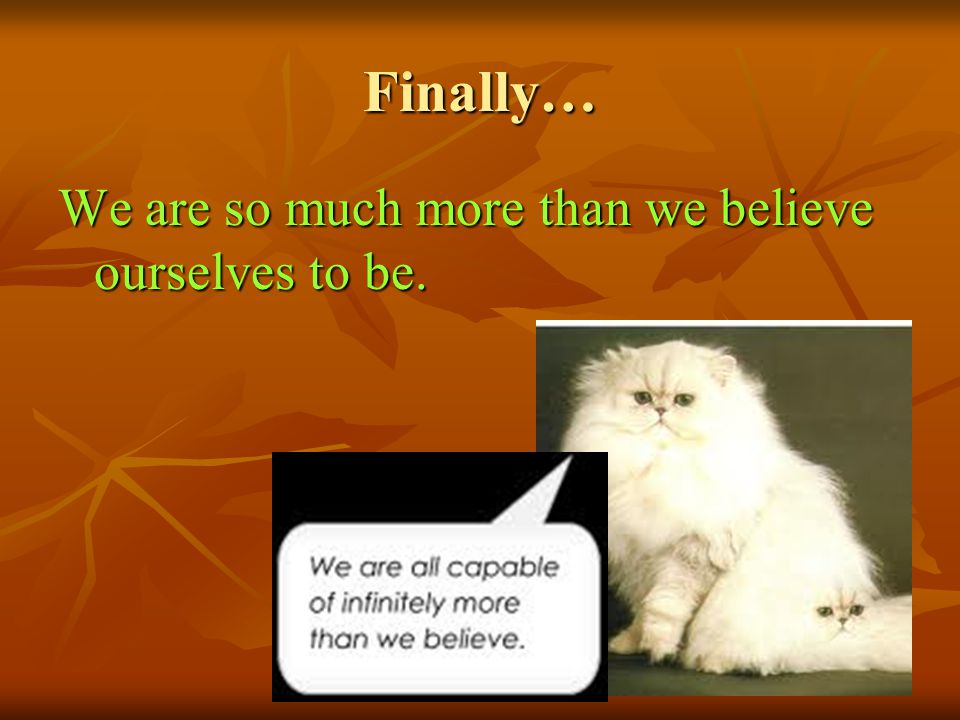 Finally… We are so much more than we believe ourselves to be.