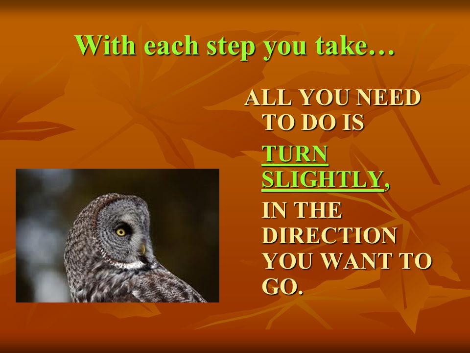 With each step you take…