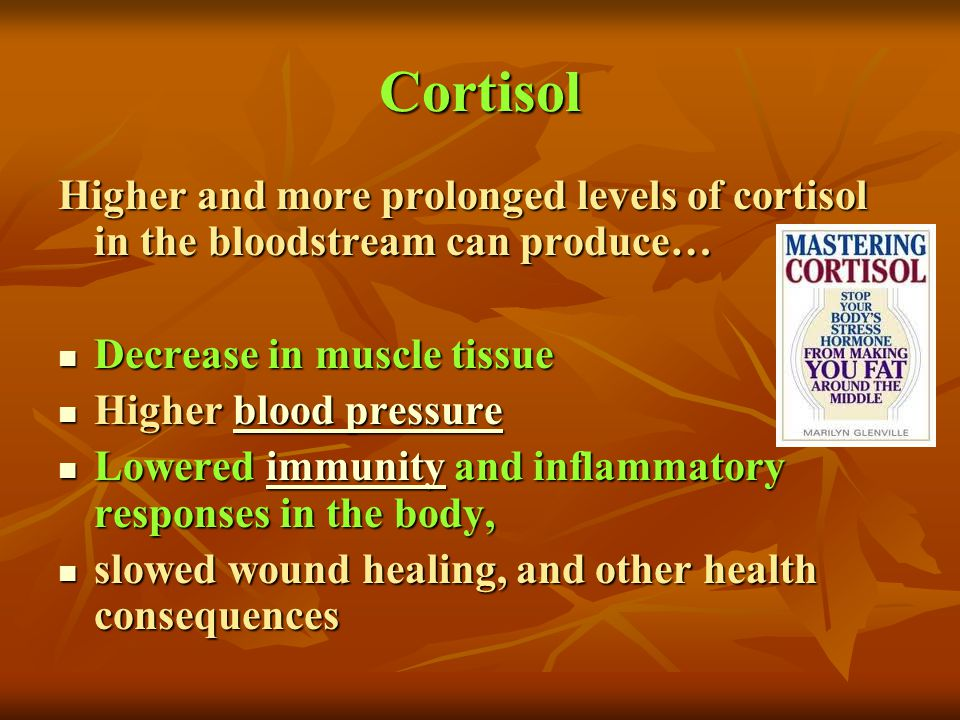 Cortisol Higher and more prolonged levels of cortisol in the bloodstream can produce… Decrease in muscle tissue.