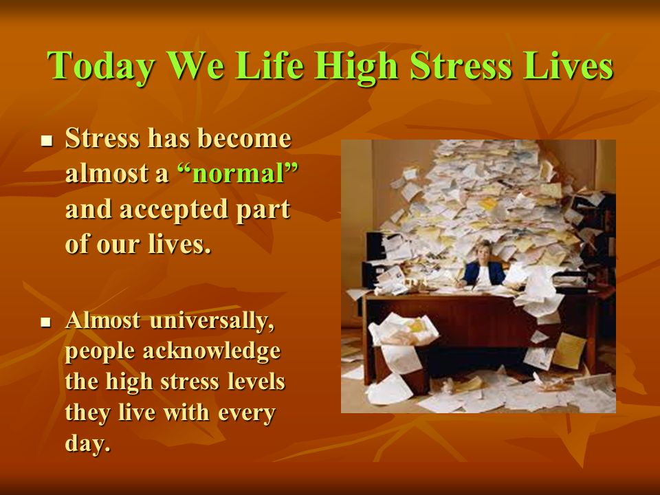 Today We Life High Stress Lives