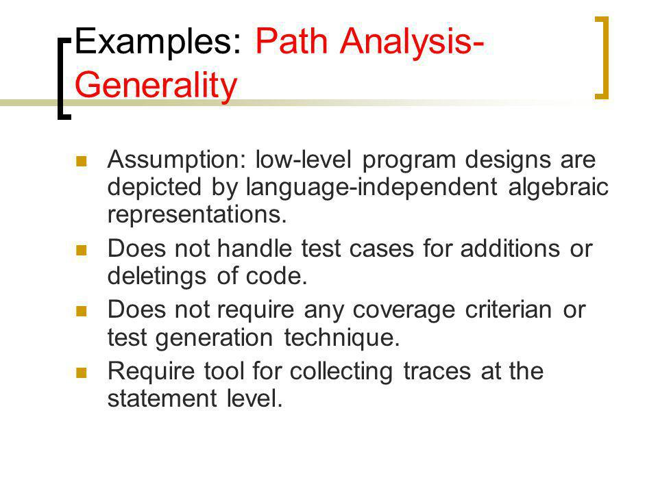 Examples: Path Analysis-Generality