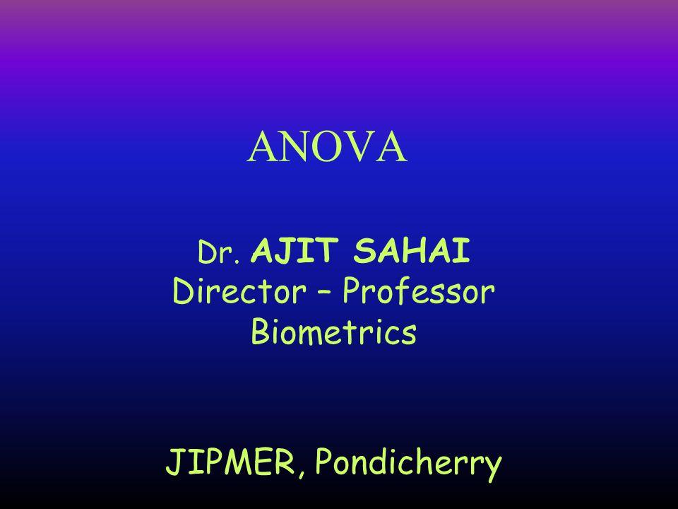 Dr. AJIT SAHAI Director – Professor Biometrics JIPMER, Pondicherry