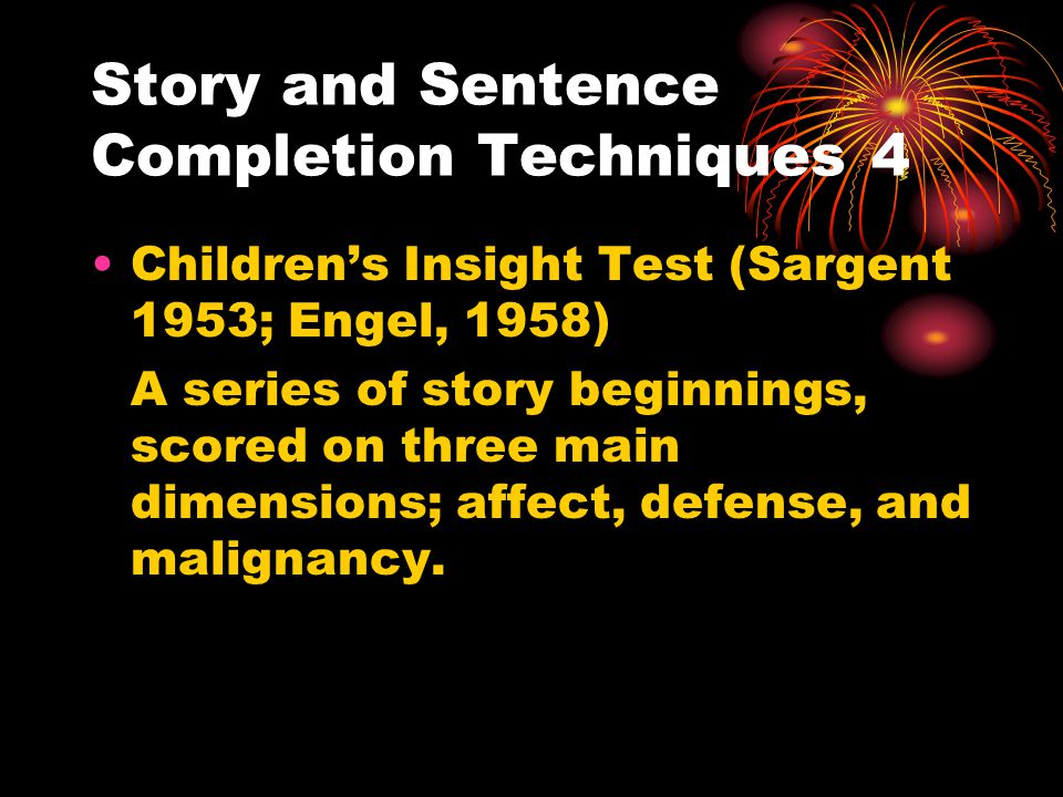 Story and Sentence Completion Techniques 4