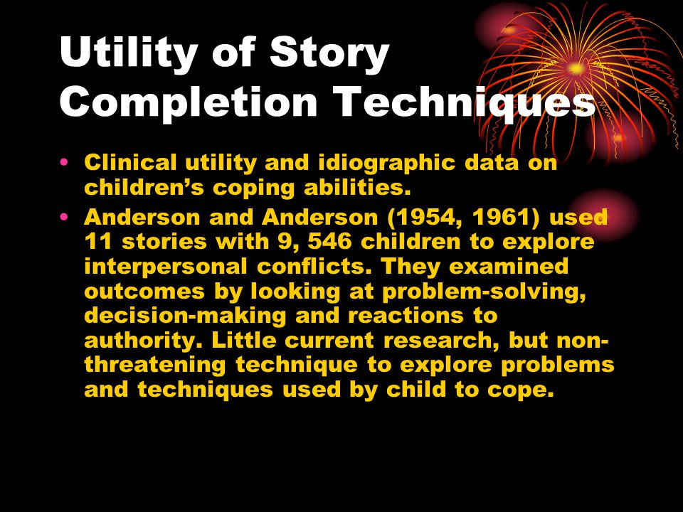 Utility of Story Completion Techniques