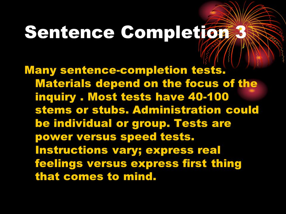 Sentence Completion 3