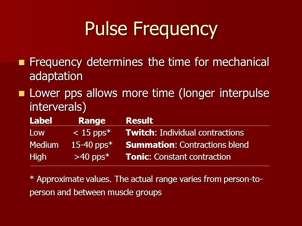 Pulse Frequency Frequency determines the time for mechanical adaptation. Lower pps allows more time (longer interpulse interverals)