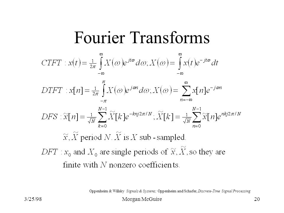 Fourier Transforms 3/25/98 Morgan McGuire