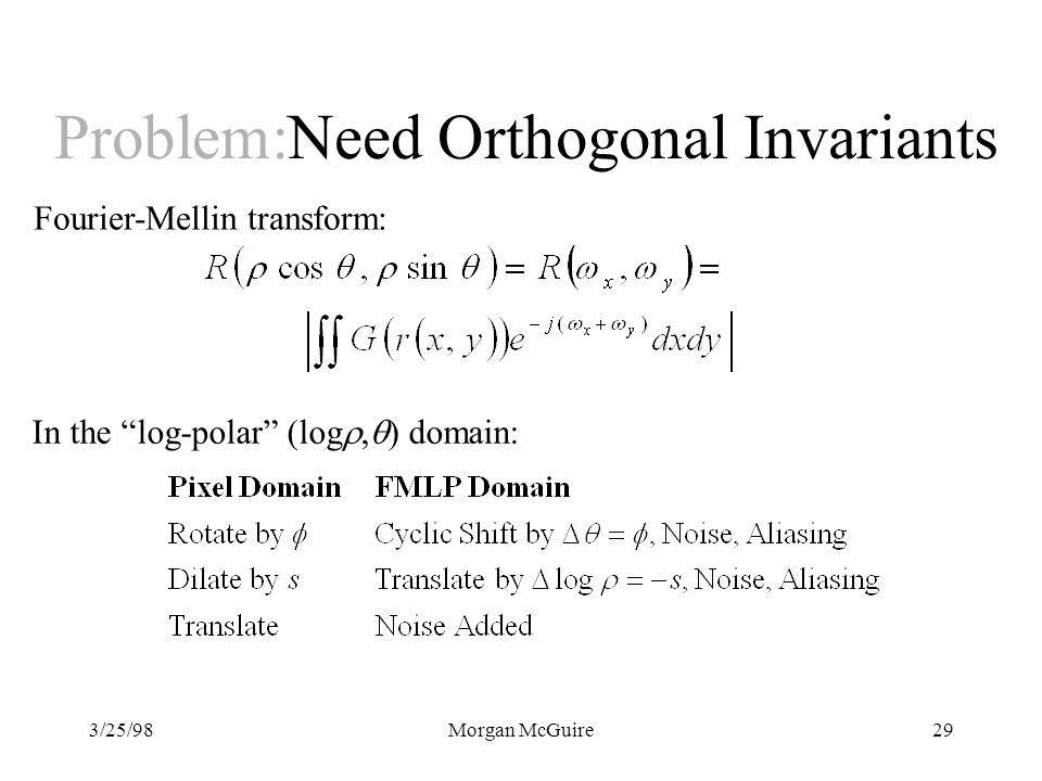 Problem:Need Orthogonal Invariants