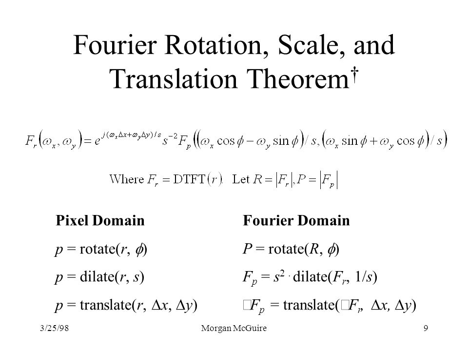 Fourier Rotation, Scale, and Translation Theorem†